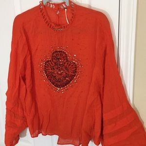 FREE PEOPLE EMBROIDERED TUNIC (L)